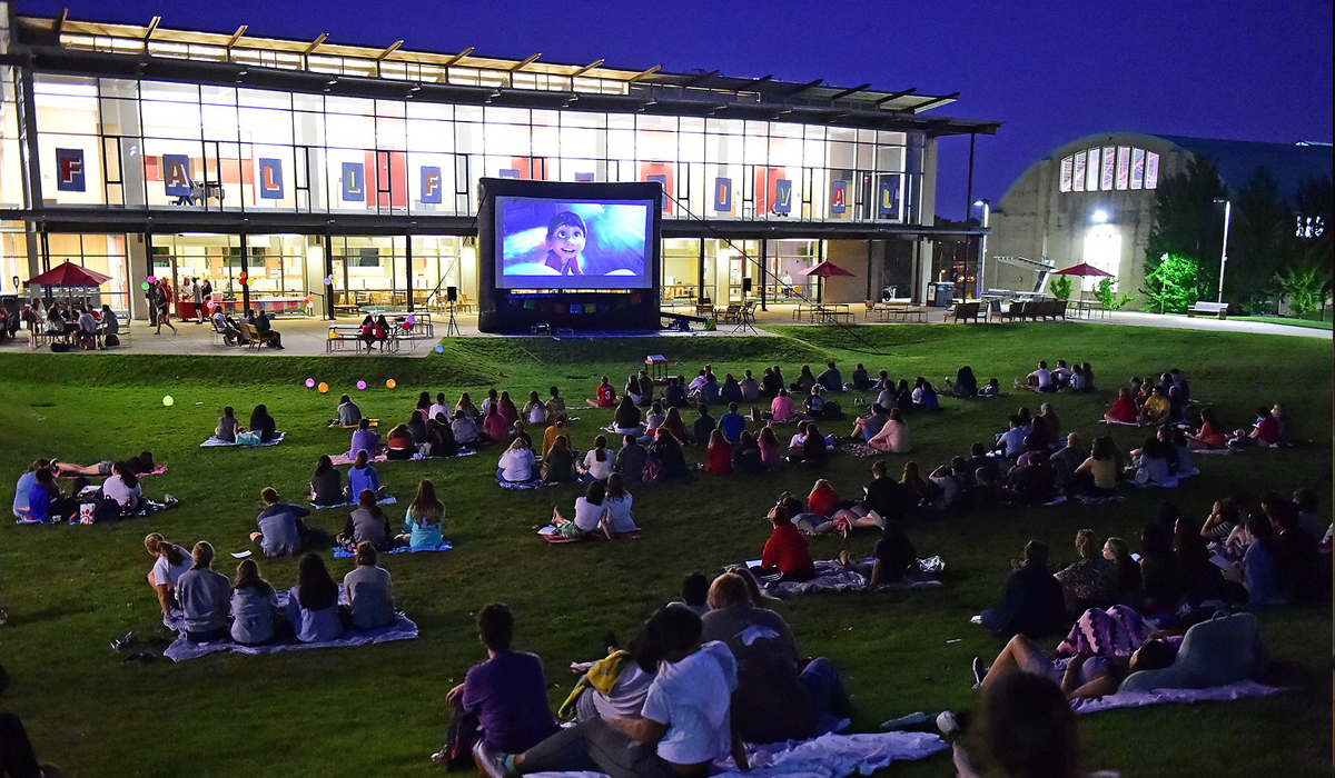 Pryz Movie Night with students on lawn